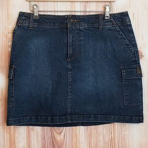 ST. JOHN'S BAY PETITE STRETCH BLUE JEAN SKORT 10P